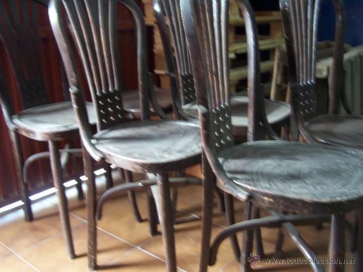Antigüedades: Juego de 6 sillas muy antiguas de barberia o cafeteria para restaurar - Foto 5 - 40673710