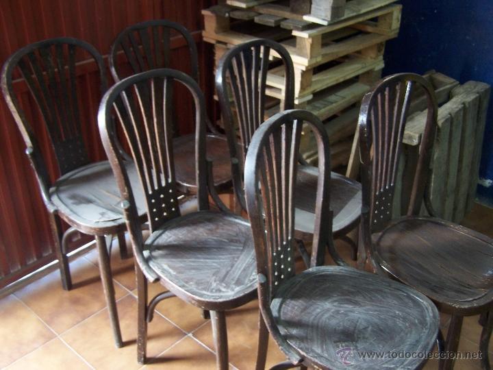 Antigüedades: Juego de 6 sillas muy antiguas de barberia o cafeteria para restaurar - Foto 6 - 40673710