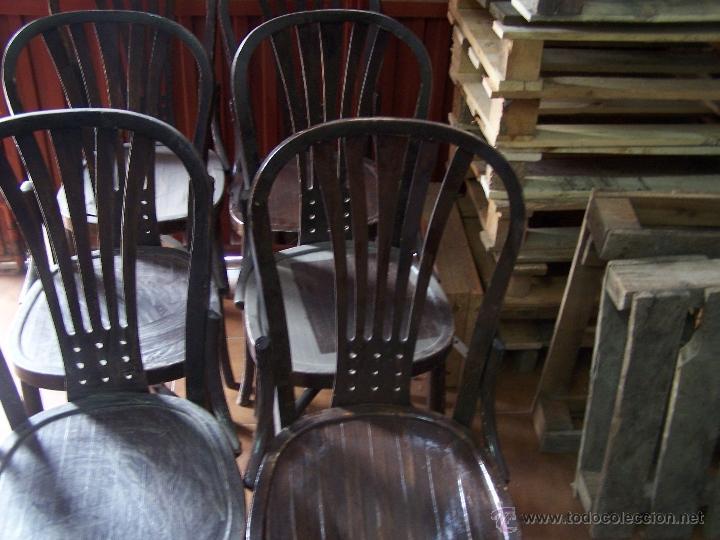 Antigüedades: Juego de 6 sillas muy antiguas de barberia o cafeteria para restaurar - Foto 7 - 40673710