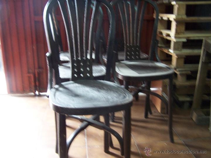 Antigüedades: Juego de 6 sillas muy antiguas de barberia o cafeteria para restaurar - Foto 12 - 40673710