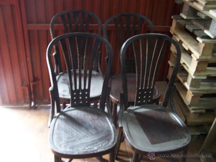 Antigüedades: Juego de 6 sillas muy antiguas de barberia o cafeteria para restaurar - Foto 15 - 40673710