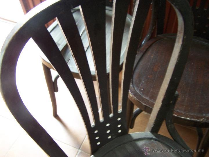 Antigüedades: Juego de 6 sillas muy antiguas de barberia o cafeteria para restaurar - Foto 19 - 40673710