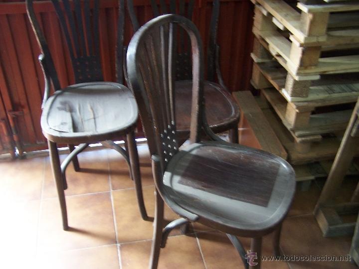 Antigüedades: Juego de 6 sillas muy antiguas de barberia o cafeteria para restaurar - Foto 20 - 40673710