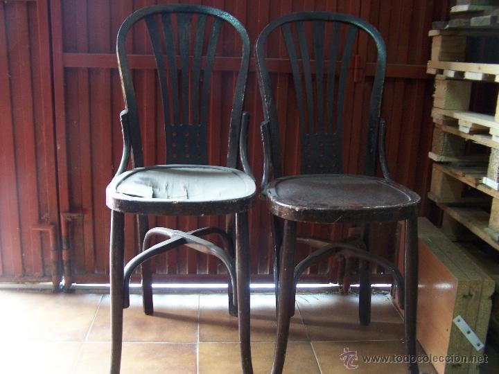 Antigüedades: Juego de 6 sillas muy antiguas de barberia o cafeteria para restaurar - Foto 21 - 40673710