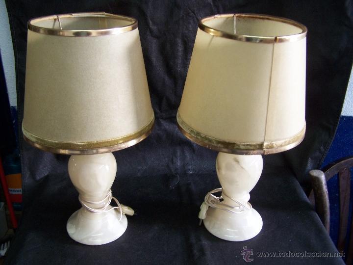 DOS LAMPARAS ANTIGUAS DE MESA, CREO DE ALABASTRO, TODO ORIGINAL (Antigüedades - Iluminación - Lámparas Antiguas)