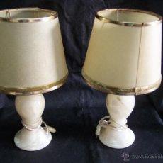 Antigüedades: DOS LAMPARAS ANTIGUAS DE MESA, CREO DE ALABASTRO, TODO ORIGINAL. Lote 40673864