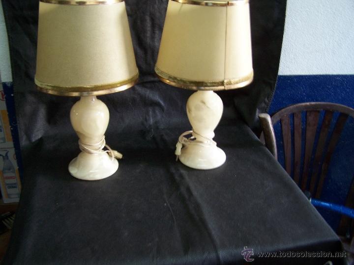 Antigüedades: Dos lamparas antiguas de mesa, creo de alabastro, todo original - Foto 17 - 40673864
