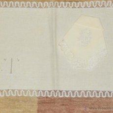 Antigüedades: ANTIGUO MANTEL INDIVIDUAL LINO Y ENCAJE DE CAMARIÑAS. Lote 218603018