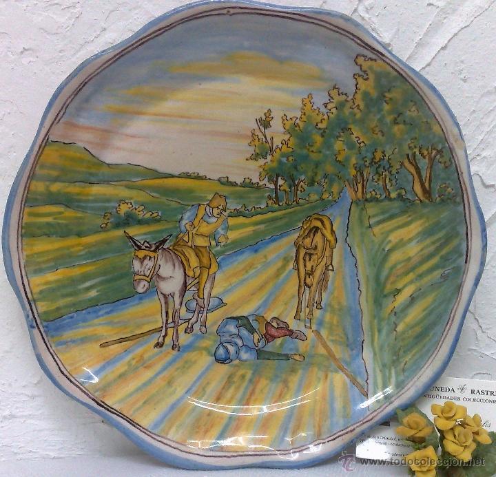 NIVEIRO .- ANTIGUO PLATO CERÁMICA DE TALAVERA CON ESCENAS DEL QUIJOTE. (Antigüedades - Porcelanas y Cerámicas - Talavera)