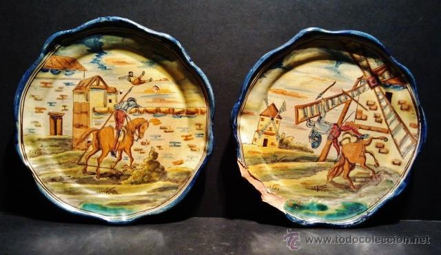 TALAVERA.PAREJA DE PLATOS DE CERÁMICA, MARCAS AL DORSO DE NIVEIRO. SERIE 'EL QUIJOTE'. (Antigüedades - Porcelanas y Cerámicas - Talavera)