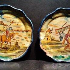Antigüedades: PAREJA DE PLATOS DE CERÁMICA DE TALAVERA, MARCAS AL DORSO DE NIVEIRO. SERIE 'EL QUIJOTE'.. Lote 40708551