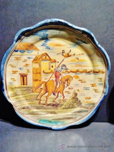 Antigüedades: TALAVERA.Pareja de platos de cerámica, marcas al dorso de Niveiro. Serie El Quijote. - Foto 2 - 40708551