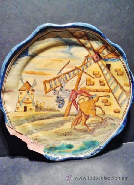 Antigüedades: TALAVERA.Pareja de platos de cerámica, marcas al dorso de Niveiro. Serie El Quijote. - Foto 3 - 40708551