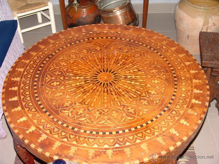 Antigüedades: IMPRESIONANTE MESA ESTILO MORUNO CON MARQUETERÍA - Foto 2 - 40710562