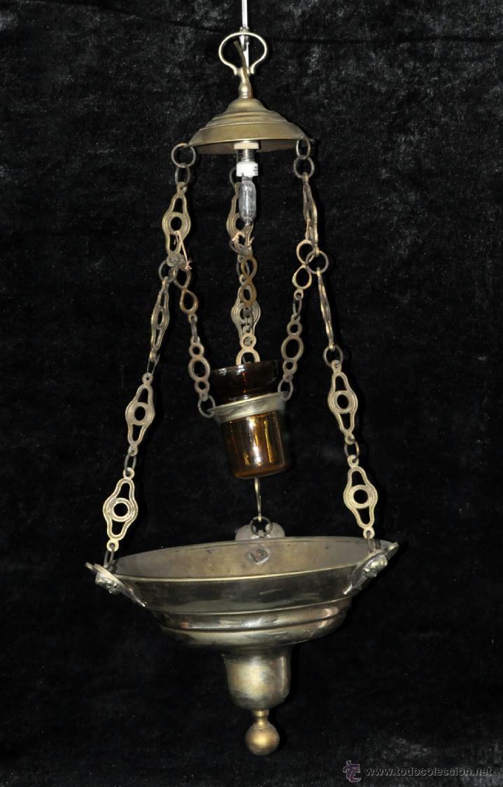 LAMPARA VOTIVA REALIZADA EN BRONCE DE PRINCIPIOS DEL SIGLO XIX (Antigüedades - Religiosas - Varios)