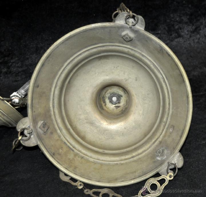 Antigüedades: LAMPARA VOTIVA REALIZADA EN BRONCE DE PRINCIPIOS DEL SIGLO XIX - Foto 3 - 40717857