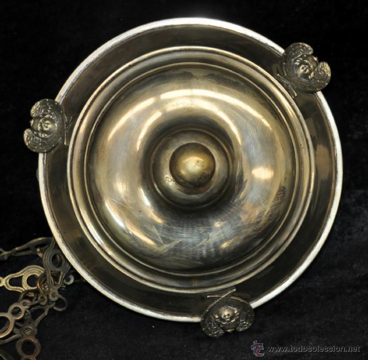 Antigüedades: LAMPARA VOTIVA REALIZADA EN BRONCE DE PRINCIPIOS DEL SIGLO XIX - Foto 4 - 40717857