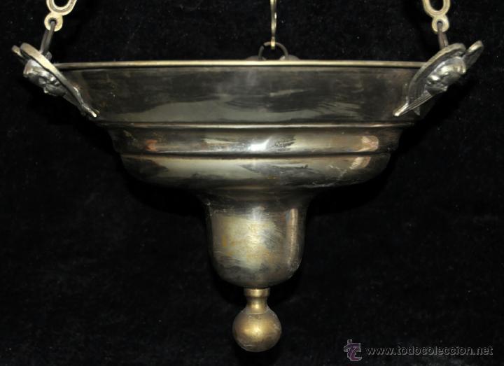 Antigüedades: LAMPARA VOTIVA REALIZADA EN BRONCE DE PRINCIPIOS DEL SIGLO XIX - Foto 6 - 40717857