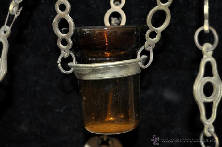 Antigüedades: LAMPARA VOTIVA REALIZADA EN BRONCE DE PRINCIPIOS DEL SIGLO XIX - Foto 8 - 40717857