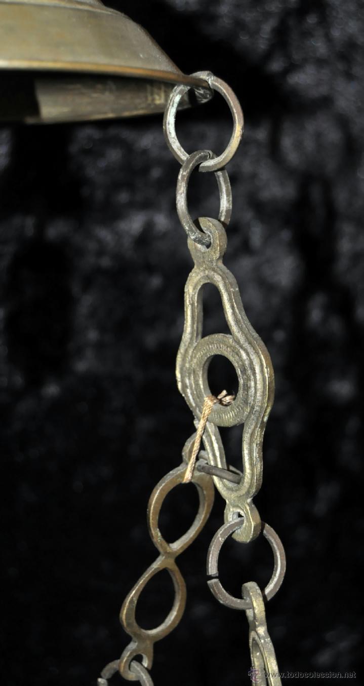 Antigüedades: LAMPARA VOTIVA REALIZADA EN BRONCE DE PRINCIPIOS DEL SIGLO XIX - Foto 9 - 40717857