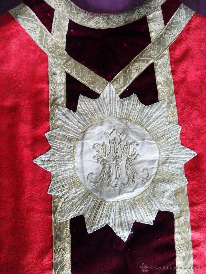 CASULLA ROJA SIGLO XIX (Antigüedades - Religiosas - Casullas Antiguas)