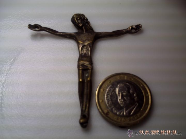 CRUCIFICADO PLATEADO. (Antigüedades - Religiosas - Cruces Antiguas)
