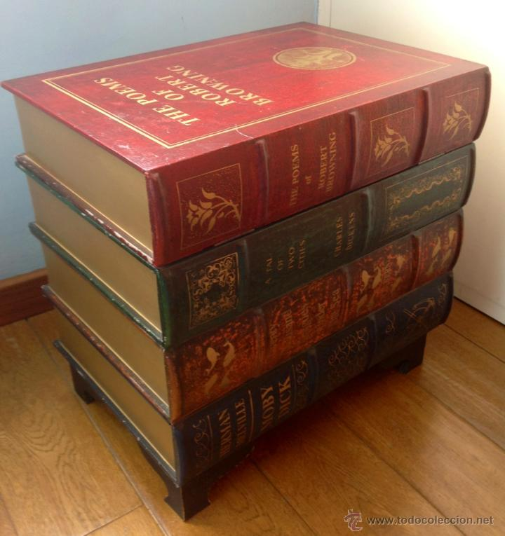 Maravillosa mesa auxiliar madera forma de libr comprar for Libros de muebles de madera