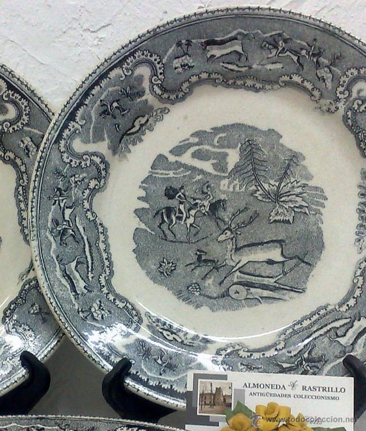 Antigüedades: SIGLO XIX-XX.- TRIÓ DE PLATOS EN LOZA, CON DECORACIÓN CINEGETICA DE ESTILO INGLES. - Foto 5 - 40757428