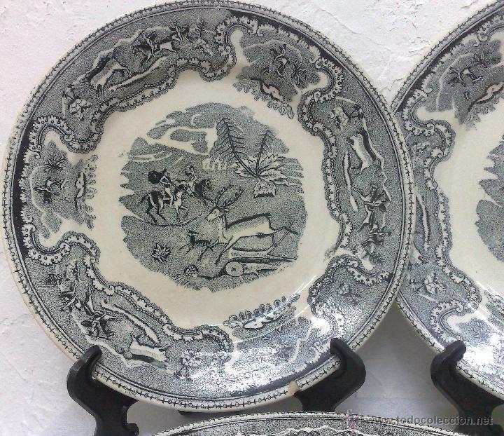 Antigüedades: SIGLO XIX-XX.- TRIÓ DE PLATOS EN LOZA, CON DECORACIÓN CINEGETICA DE ESTILO INGLES. - Foto 8 - 40757428