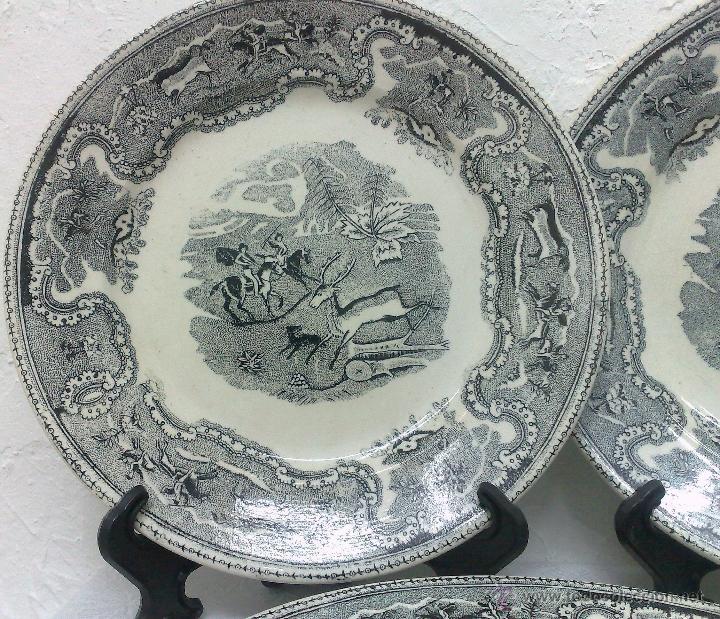 Antigüedades: SIGLO XIX-XX.- TRIÓ DE PLATOS EN LOZA, CON DECORACIÓN CINEGETICA DE ESTILO INGLES. - Foto 9 - 40757428