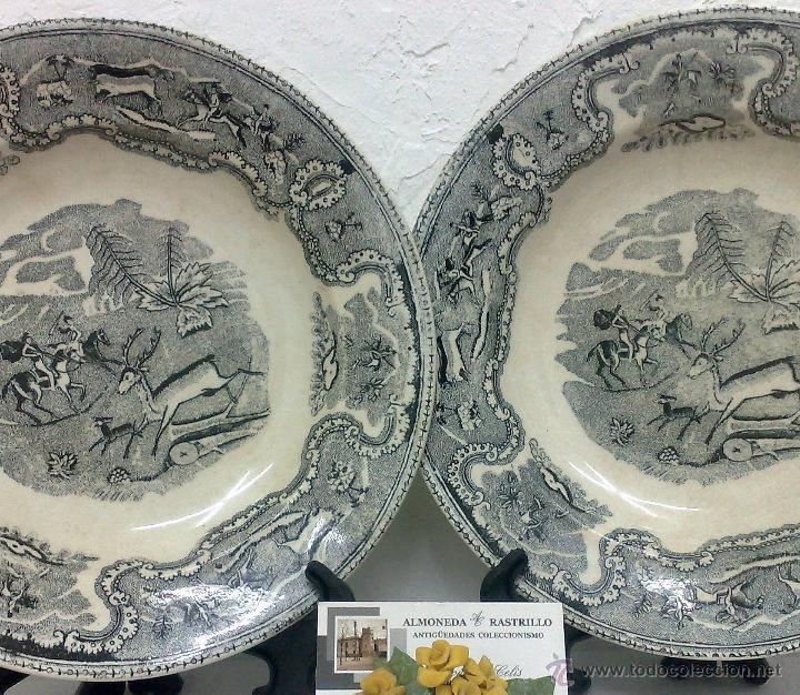 Antigüedades: SIGLO XIX-XX.- PAREJA DE PLATOS EN LOZA, CON DECORACIÓN CINEGETICA DE ESTILO INGLES. - Foto 4 - 40757816