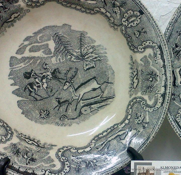 Antigüedades: SIGLO XIX-XX.- PAREJA DE PLATOS EN LOZA, CON DECORACIÓN CINEGETICA DE ESTILO INGLES. - Foto 6 - 40757816
