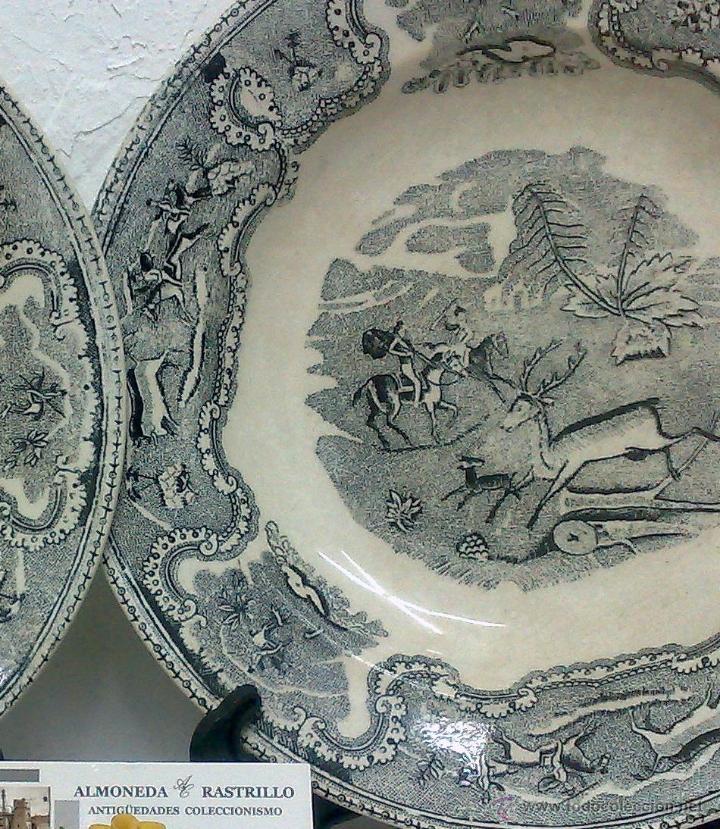 Antigüedades: SIGLO XIX-XX.- PAREJA DE PLATOS EN LOZA, CON DECORACIÓN CINEGETICA DE ESTILO INGLES. - Foto 7 - 40757816
