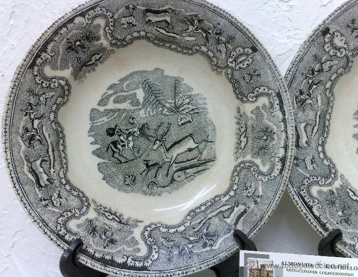 Antigüedades: SIGLO XIX-XX.- PAREJA DE PLATOS EN LOZA, CON DECORACIÓN CINEGETICA DE ESTILO INGLES. - Foto 9 - 40757816