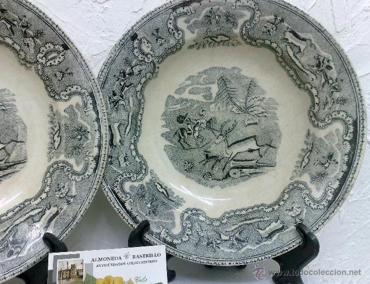 Antigüedades: SIGLO XIX-XX.- PAREJA DE PLATOS EN LOZA, CON DECORACIÓN CINEGETICA DE ESTILO INGLES. - Foto 10 - 40757816