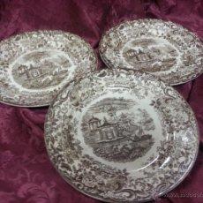 Antigüedades: LOTE DE 3 BONITOS PLATOS DE LA CARTUJA. PICKMAN. DECORACIÓN PAISAJE JAPONES.. Lote 40760353