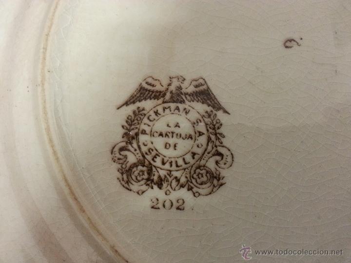 Antigüedades: LOTE DE 3 BONITOS PLATOS DE LA CARTUJA. PICKMAN. DECORACIÓN PAISAJE JAPONES. - Foto 5 - 40760353