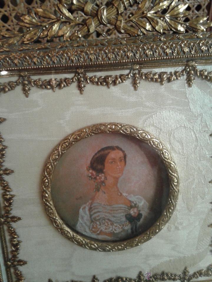 Antigüedades: PEQUEÑO MARCO FRANCES IMPERIO.BRONCE ORMALU Y SEDA.MINIATURA PINTURA DAMA - Foto 2 - 40793998