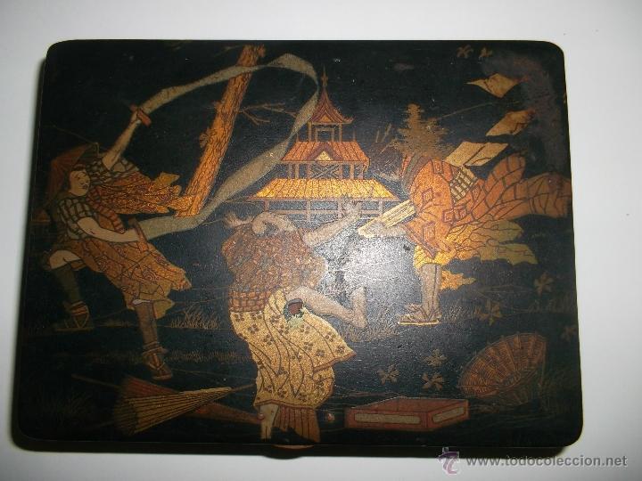 Antigüedades: caja de madera lacada - Foto 2 - 40808589