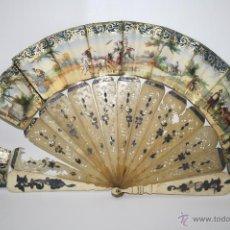 Antigüedades: AB006 ABANICO EN ASTA Y HUESO - PAÍS DE PAPEL LITOGRAFIADO - PARA RESTAURAR - FIN. S. XIX. Lote 40817316