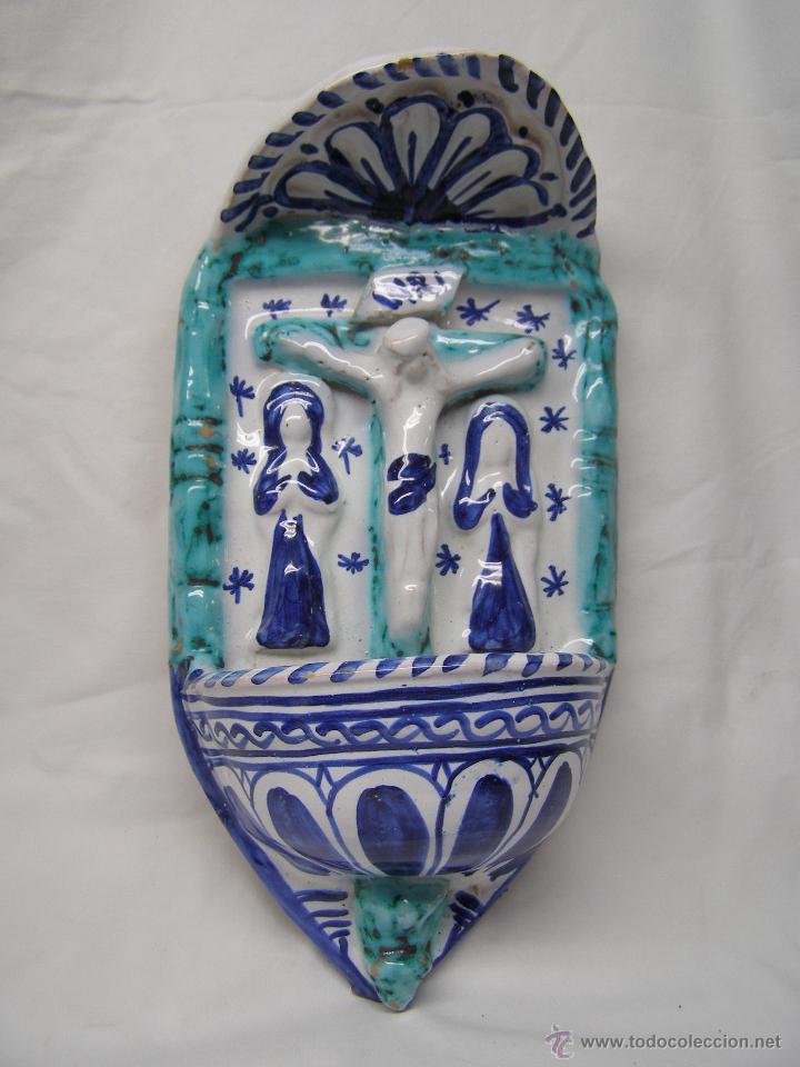 BENDITERA CRUZ AZUL (Antigüedades - Religiosas - Benditeras)