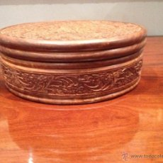 Antigüedades: CAJA REDONDA MADERA TALLADA.. Lote 40817883