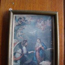 Antigüedades: MARCO ANTIGUO CON IMAGEN SALUDA A MARIA EL ANGEL DE DIOS MISTERIO ENCARNACION. Lote 40822661