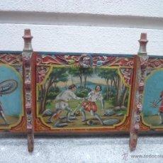 Antigüedades: PANEL DE CARRO ITALIANO, PRINCIPIOS DEL XIX, CON UNA ESCENA DE JERUSALÉN LIBERTADA. Lote 40829475