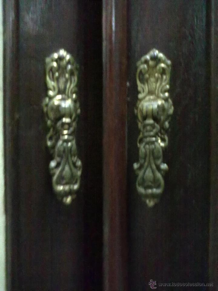 Antigüedades: CABECERO DE CAMA Y MESILLA DE NOCHE DE ROBLE PARA RESTAURAR - Foto 11 - 40881991
