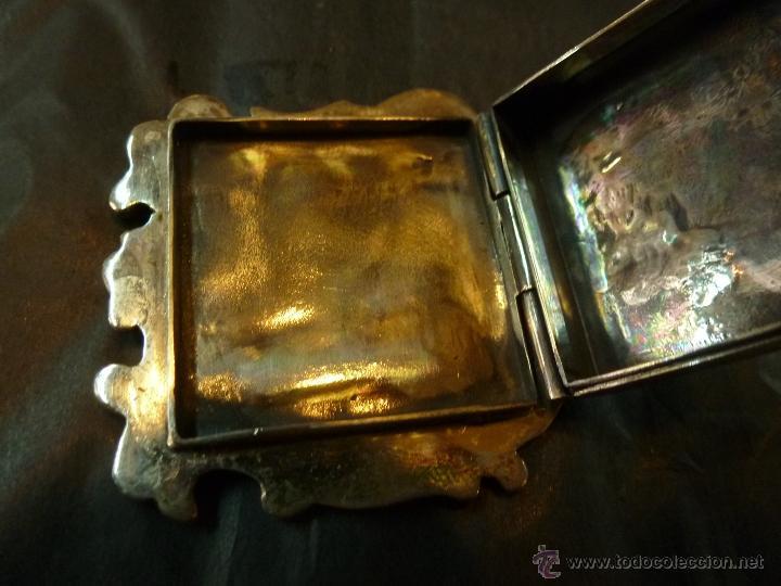 Antigüedades: caja de plata pastillero - Foto 3 - 40887456