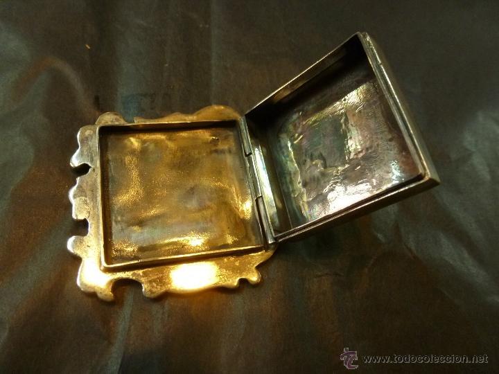 Antigüedades: caja de plata pastillero - Foto 4 - 40887456