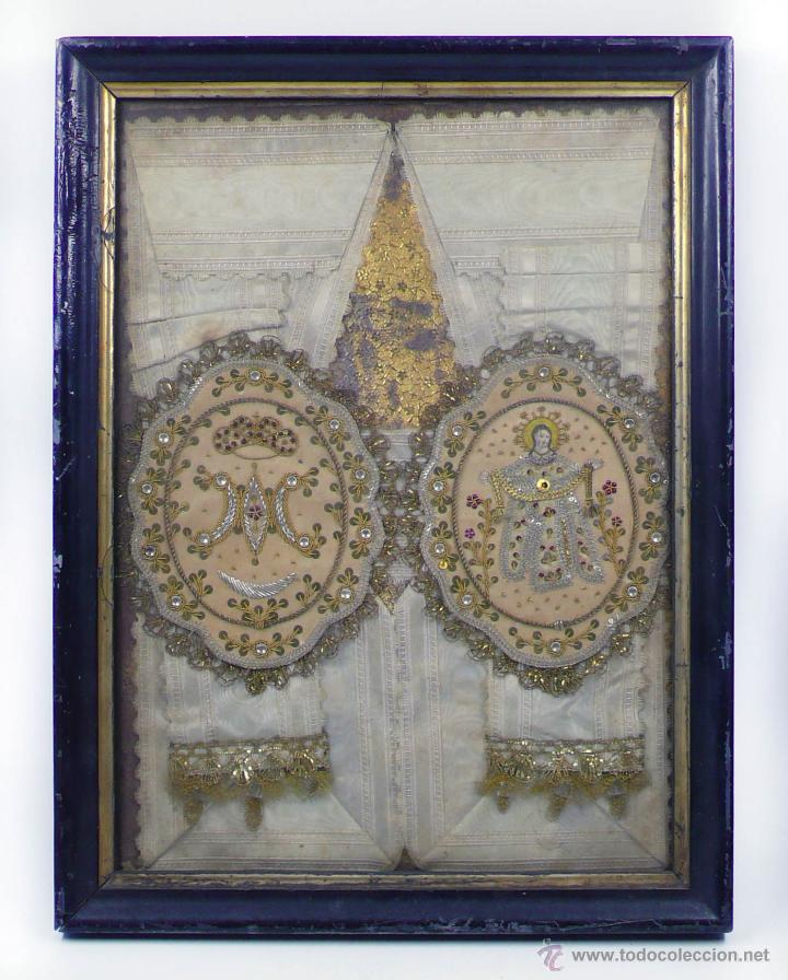 ESCAPULARIOS ANTIGUOS ENMARCADOS, MARCO: 37X28 CM. VER FOTOS ANEXAS (Antigüedades - Religiosas - Escapularios Antiguos)