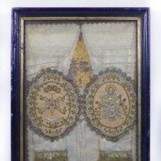 Antigüedades: ESCAPULARIOS ANTIGUOS ENMARCADOS, MARCO: 37X28 CM. VER FOTOS ANEXAS. Lote 40889151