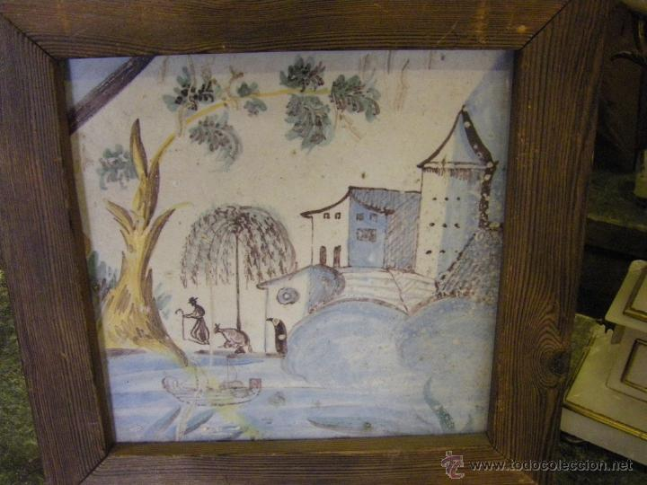 AZULEJO O BALDOSA PROCEDENTE DE UNA PANEL DEL S. XVIII ALCORA, CASTELLÓN Y VALENCIA (Antigüedades - Porcelanas y Cerámicas - Alcora)